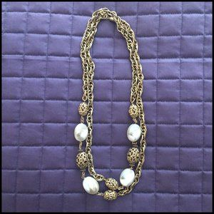 Gold & Pearl Rope Necklace by1928 Jewelry